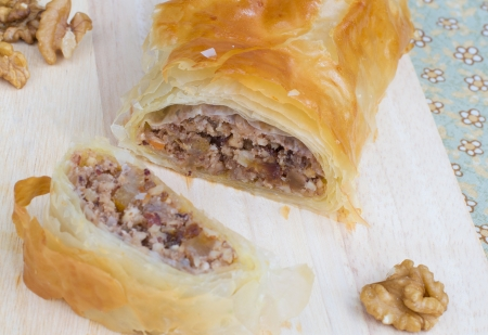 Baked roll with nuts and philo pastry  photo