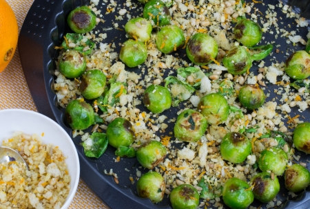 Brussels sprouts baked with migas from bread crumbs  photo