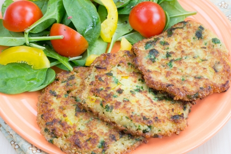 fritters: Quinoa fritters with vegetable salad