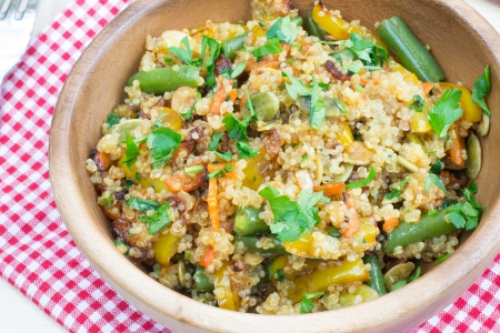 Healthy vegetarian stir-fry with quinoa  photo