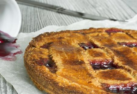 Homemade traditional Austrian Linzer tart with blackcurrant jam  Stock Photo - 18406017