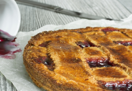 Homemade traditional Austrian Linzer tart with blackcurrant jam Stock Photo - 18406017