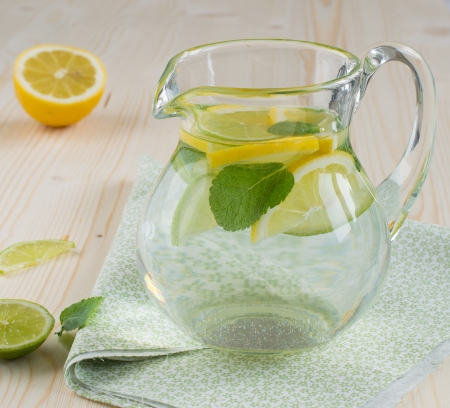 Refreshing dronk with lemons and mint photo