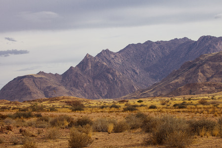 afrika: view from the road to African red mountains, Namibia, South Africa Stock Photo