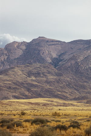view from the road to African red mountains, Namibia, South Africa Stock Photo