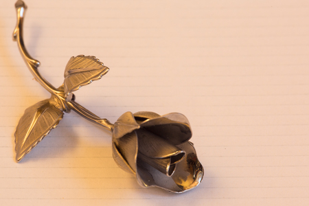 Metal rose on a background for holiday greetings