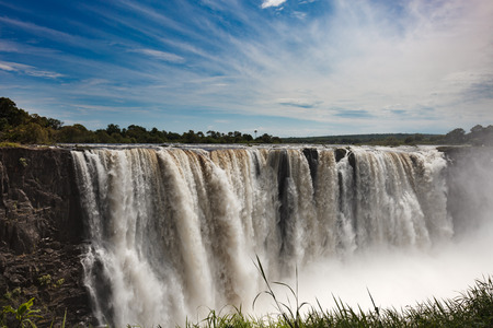 The drop of water on the Victoria Falls on the African river Zambezi . Zimbabve Stock Photo