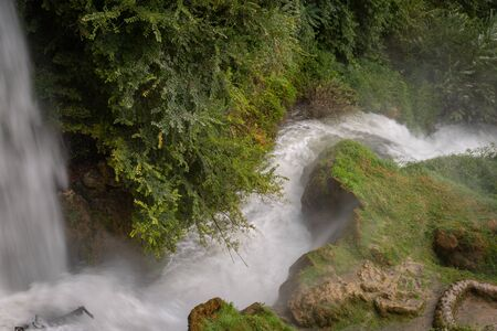 interesting unusual visible on a mountain waterfall on a sunny day for background or screensaver, Greece, Edessa Stock fotó