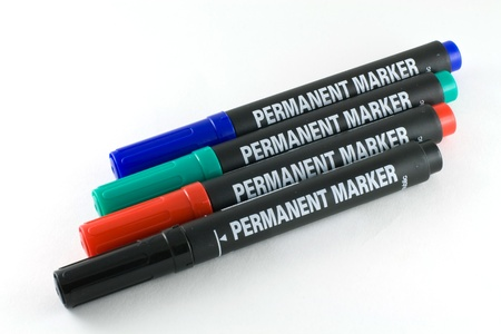 four colored permanent marker Stock Photo
