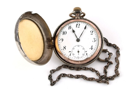 artifact: Antique gold pocket watch of the nineteenth century Stock Photo