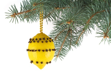 Lemon with cloves - Christmas toy Stock Photo - 16755289