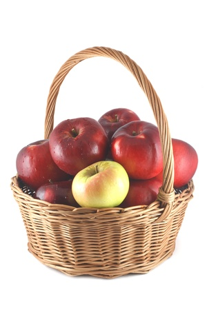 apple pile of red apples in a basket photo