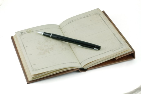 Vintage notebook and fountain pen black photo