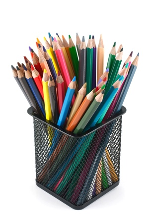Color pencils in the basket photo