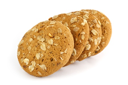 oatmeal cookie isolated on white  photo