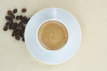 coffee with cream and coffee beans Stock Photo - 17047332