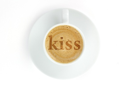 The inscription on coffee froth  kiss  Stock Photo - 17047319
