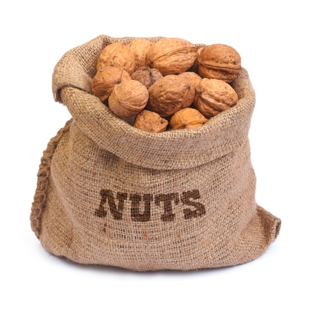 bag of walnuts isolated on white background photo