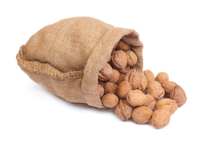 Walnuts in burlap bag Stock Photo - 17451920