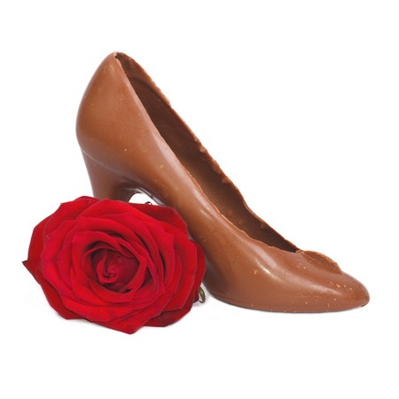shoe made   8203;  8203;of chocolate and red rose Stock Photo - 17594913