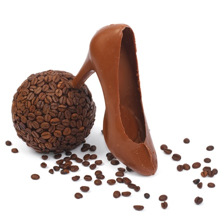 bowl of coffee and chocolate shoe Stock Photo - 17594934