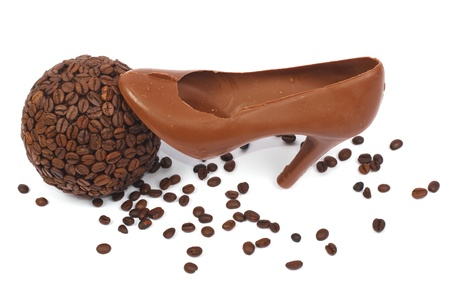 bowl of coffee and chocolate shoe isolated Stock Photo - 17594903