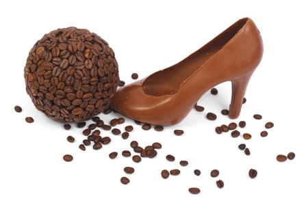 shoe made   8203;  8203;of chocolate and coffee beans Stock Photo - 17594902