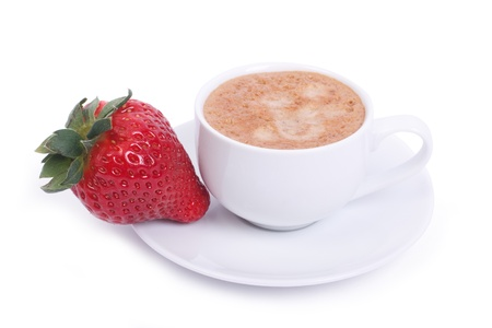 Cup of coffee and fresh ripe strawberries on a plate isolated photo