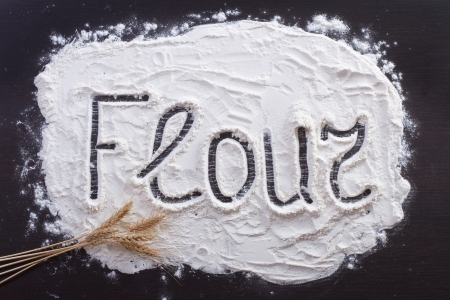 The inscription on the flour , decorating wheat  photo