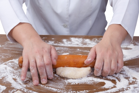 baker's: rolling out dough with a rolling pin baker s hands