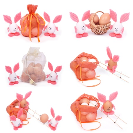 A set of six photographs  Easter bunnies and eggs isolated on white background photo