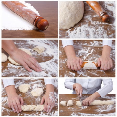 A set of six photographs  manufacturing process of baking photo