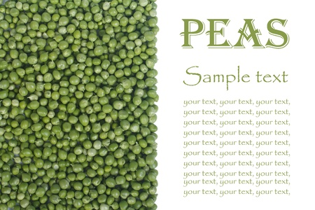 green peas with text isolated on white background  vertical  photo