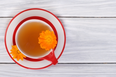 Calendula Herbal tea on the table  top view Stock Photo - 20693471