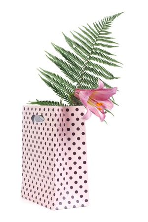 Lily flower and fern in a pink gift bag isolated on white photo