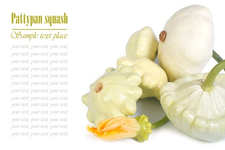 cymbling: Ripe pattypan squash vegetables isolated on white background