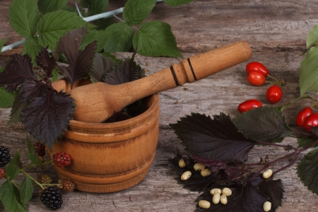 Wooden mortar with spicy herbs and berries on the table photo