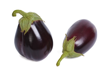 Two ripe round aubergine isolated on white background Stock Photo - 21958763
