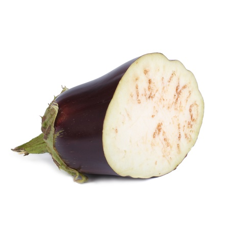 Ripe eggplant sliced   and isolated on white background Stock Photo - 21915656