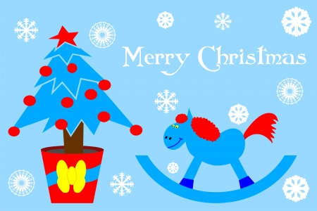 Greeting card with Christmas tree and blue wooden horse Vector