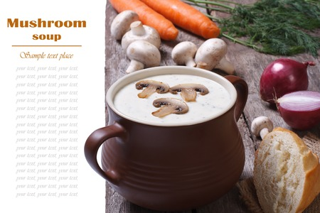 Cream of mushroom soup in the pot and the ingredients photo