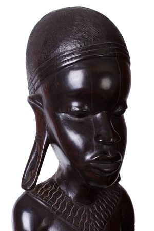 ebony wood: Statue of an African woman carved from ebony wood