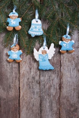 Christmas cookies in blue tones  vertical photo