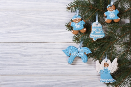 Gingerbread cookies on Christmas tree  Horizontal photo