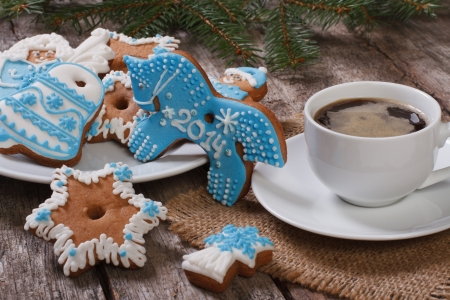 coffee and Christmas gingerbread  Symbol of 2014 - Blue Horse
