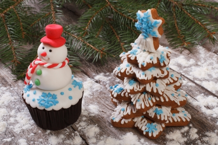 muffin as a snowman and Christmas Tree Cookies photo