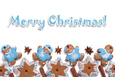 galletas de navidad: Postal de la Feliz Navidad Galletas con canela aislados sobre fondo blanco