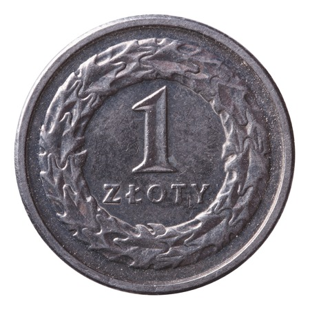 one zloty coin isolated on white background  photo