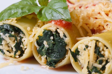 Italian pasta cannelloni stuffed with spinach and cheese with tomato sauce and basil macro horizontal