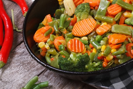 steamed vegetables in a pan horizontal. close up. top view  photo